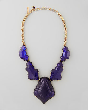 Oscar de la Renta Resin Chandelier Necklace, Dark Purple