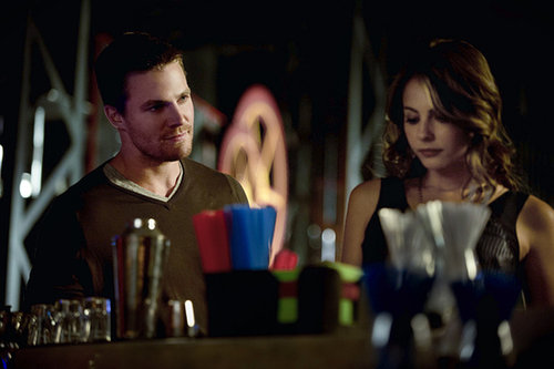 Arrow Stephen Amell and Willa Holland on Arrow.
