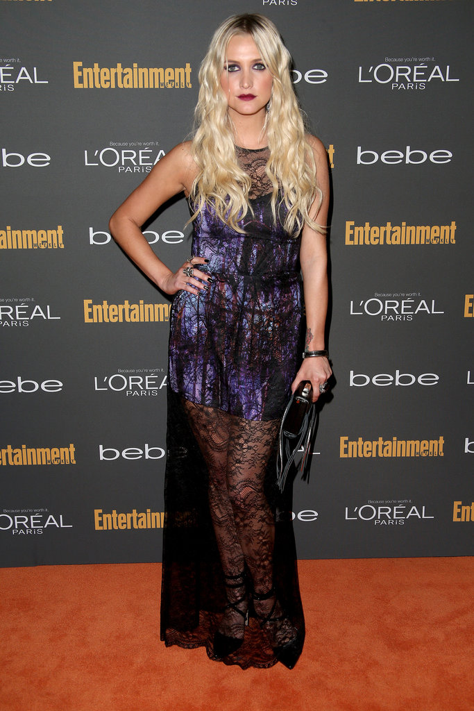 Ashlee Simpson kept it goth in a printed dress with a black lace overlay, and Alice + Olivia heels, at the Entertainment Weekly pre-Emmys party in LA.