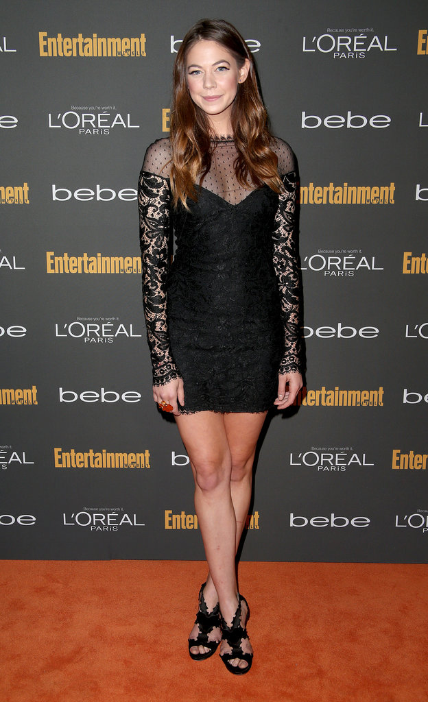 Analeigh Tipton went with a black Emilio Pucci minidress with sheer sleeves and equally snazzy sandals at the Entertainment Weekly pre-Emmys party in LA.
