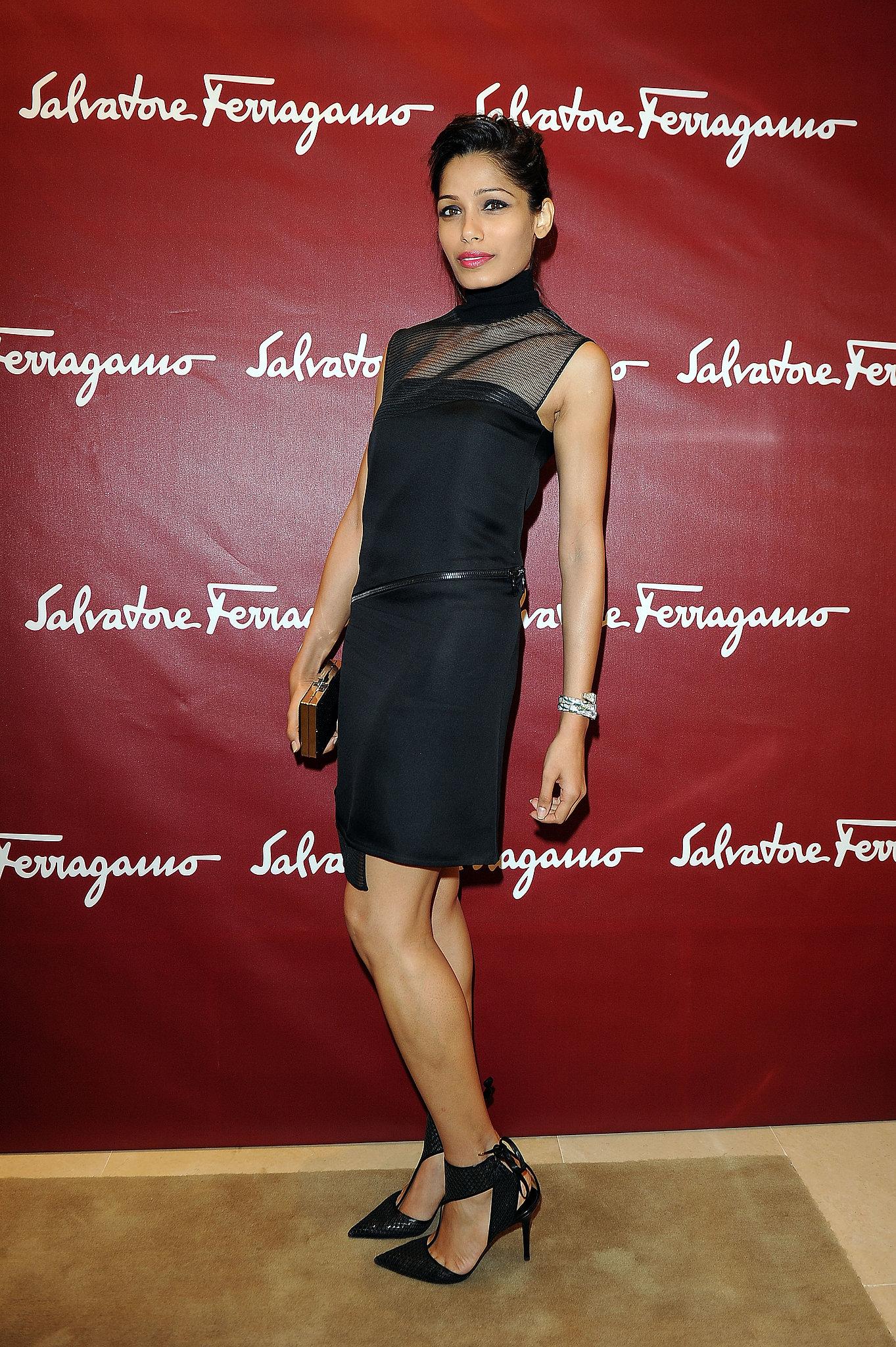Freida Pinto wore black on Friday at a Salvatore Ferragamo store opening.