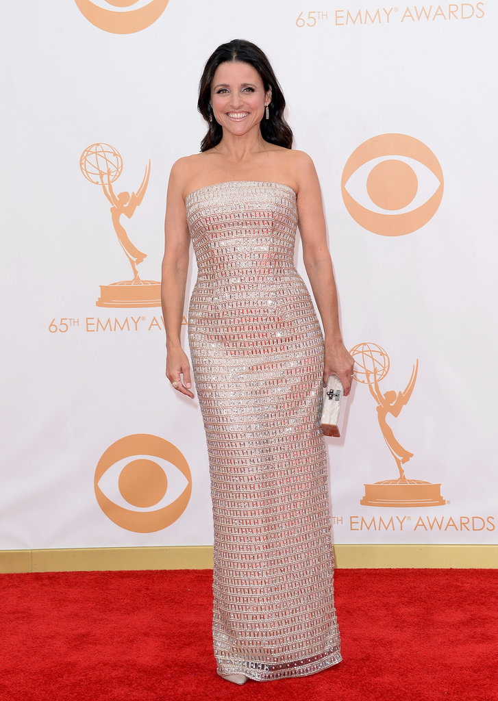 Veep star Julia Louis-Dreyfus walked the Emmys red carpet.
