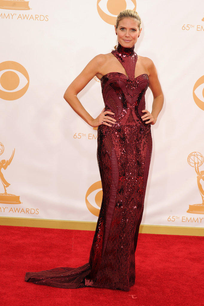 Heidi Klum hit the Emmys red carpet in an Atelier Versace gown.