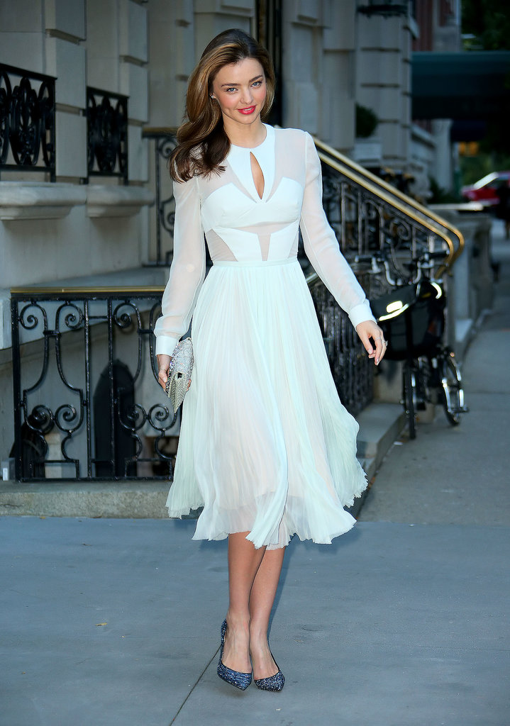 Miranda Kerr in J. Mendel and Christian Louboutin