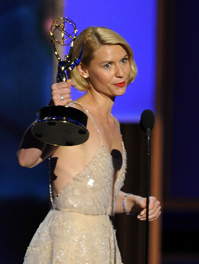 Claire Danes accepted her second Outstanding Actress award for her work on Homeland.