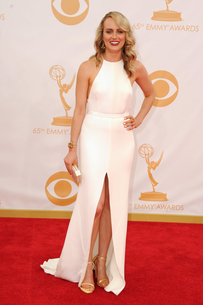 Netflix darling Taylor Schilling went to her first Emmys in style with a custom-made Thakoon dress. Finishing off the look were a pair of Stuart Weitzman sandals and Marina B. earrings.