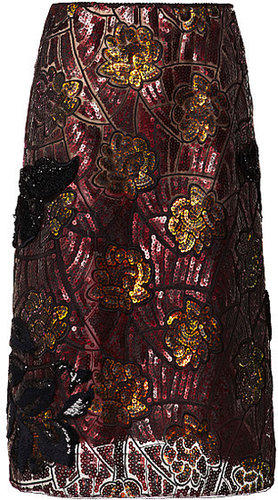 Marc Jacobs Bronze/Burgundy Beautiful Lotus Sequin Embroidered Skirt