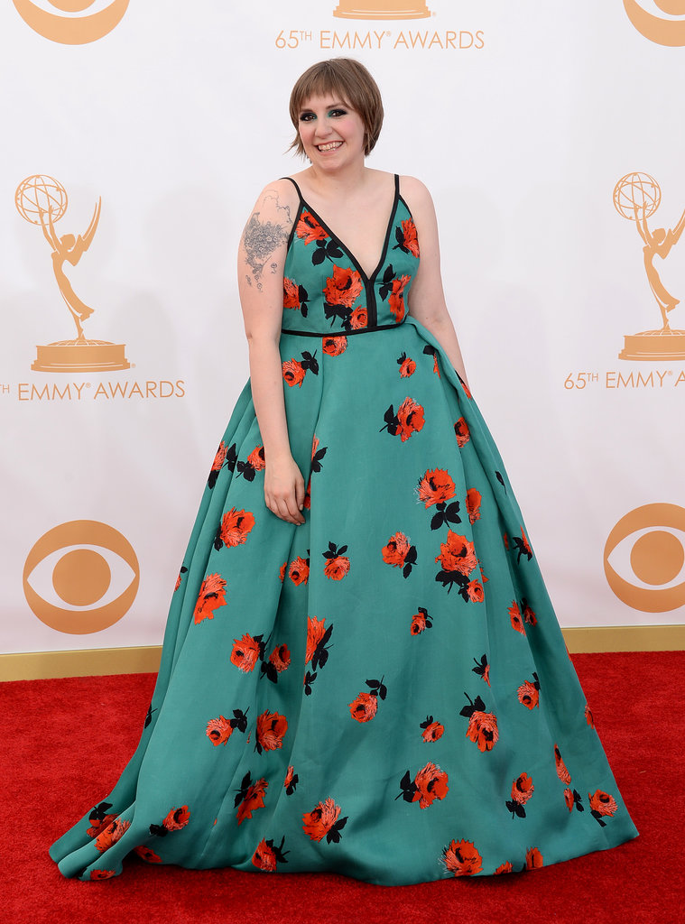Lena Dunham made a statement in a brightly-printed floral Prada gown.