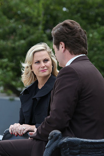 Leslie (Amy Poehler) and Ron (Nick Offerman) have a chat in the season premiere of Parks and Recreation.