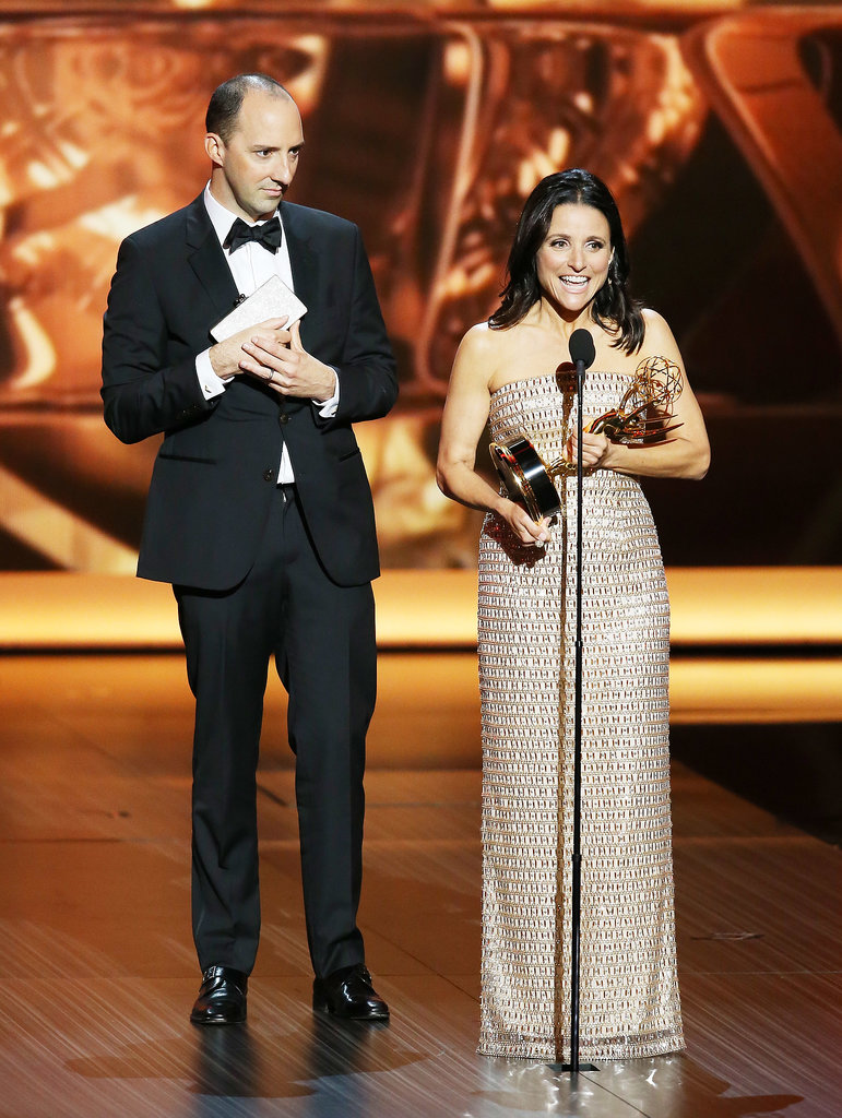 Tony Hale joined Julia Louis-Dreyfus on stage for her acceptance speech.