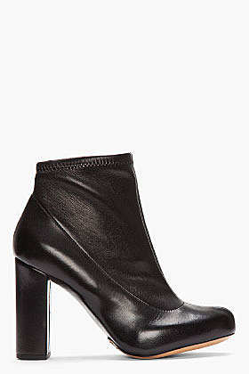CHLOE Black Stretch Leather Ankle Boots