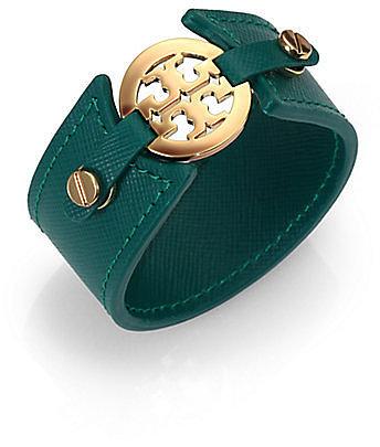 Tory Burch Logo Medallion Leather Cuff Bracelet
