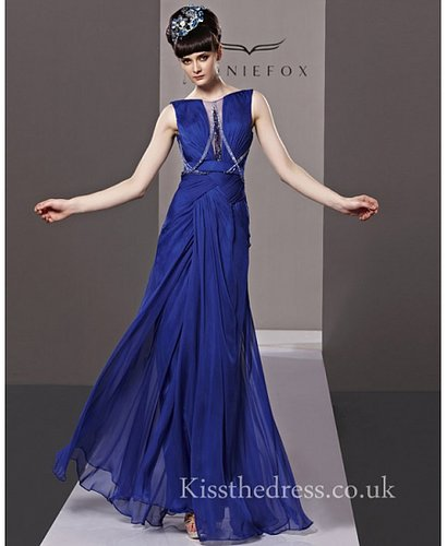 Hollywood Style Blue Chiffon Backless Long Prom Dress CYH81328