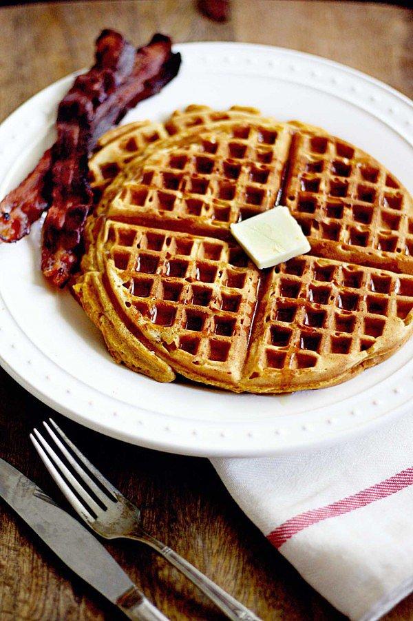 Pumpkin Gingerbread Waffles