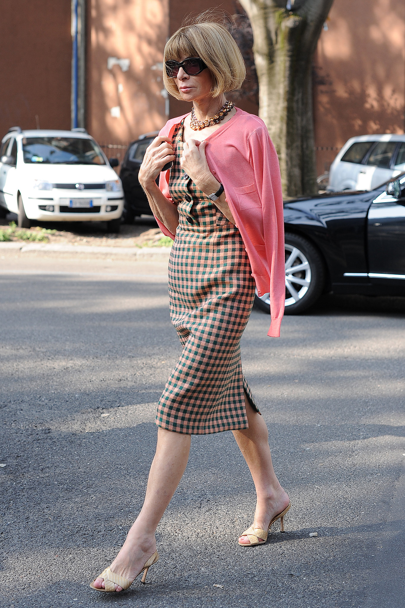 Another Day Another Slim Plaid Dress From Anna Wintour