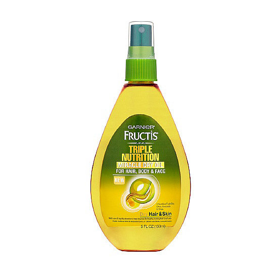 Talk about a multitasker! The Garnier Fructis Haircare Triple Nutrition Miracle Dry Oil ($6) is suitable for your hair, body, and even face. The bottle comes with a spray applicator for a light mist of olive, avocado, and shea oils wherever you need added moisture.