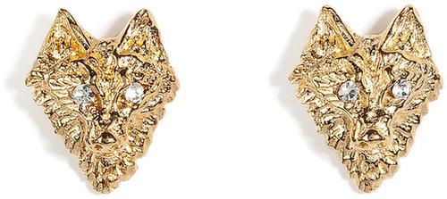 Tom Binns Wolf Stud Earrings with Crystal Eyes in Gold