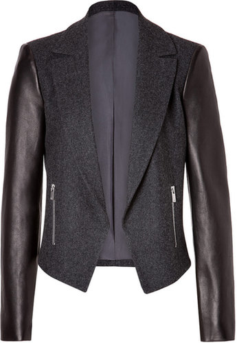 Michael Kors Wool-Blend Jacket in Charcoal with Leather Sleeves