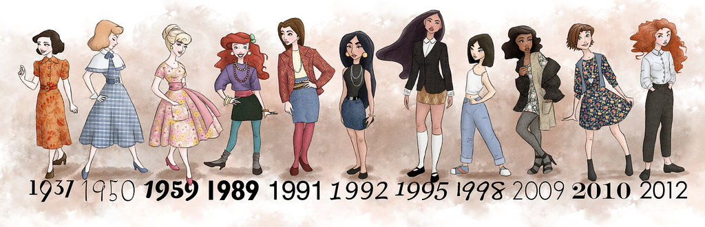 All the Disney Princesses by Year
