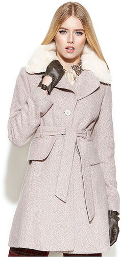 Jessica Simpson Coat, Tweed Belted Faux-Fur-Collar Peplum