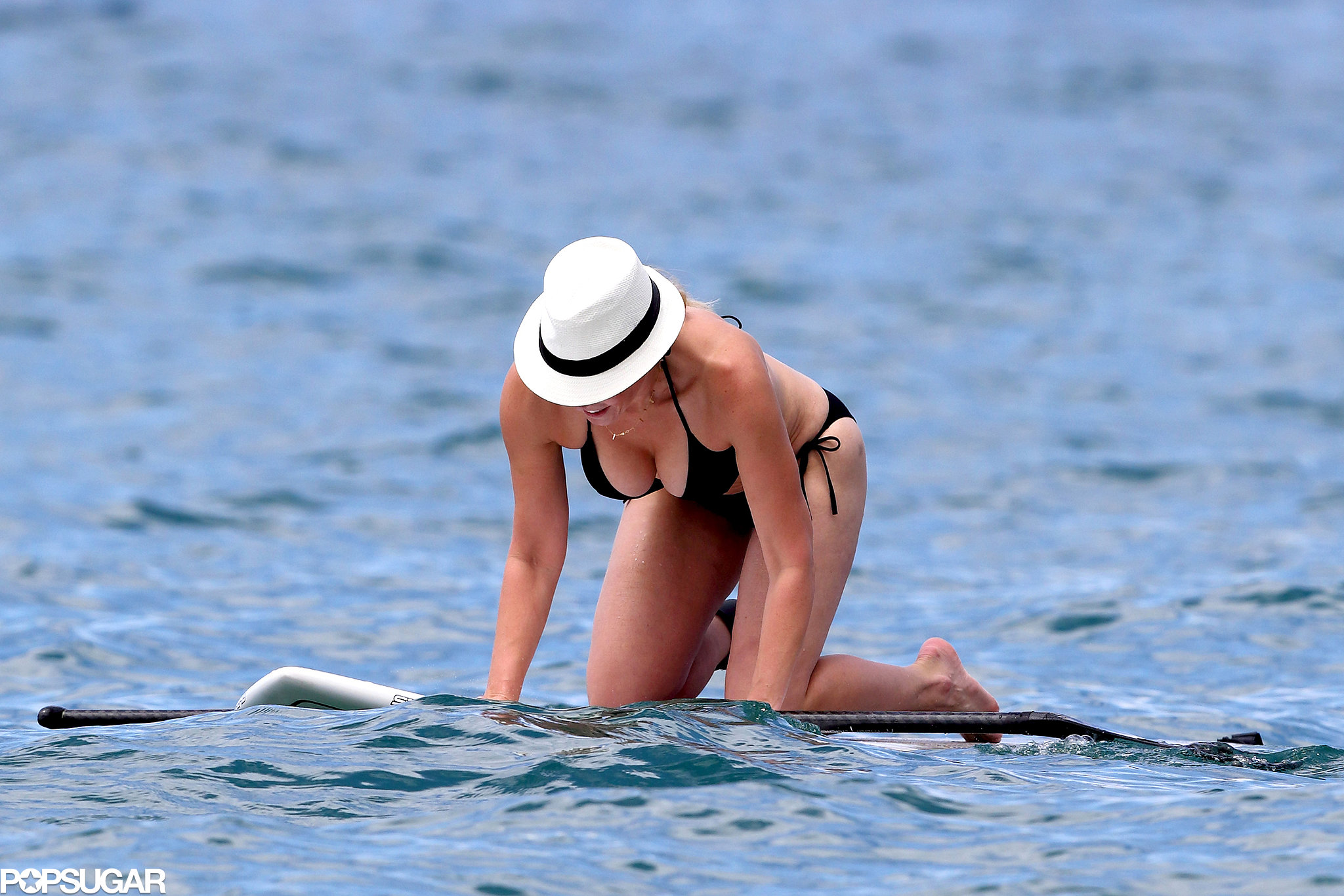 Chelsea Handler donned a black bikini during her vacation.