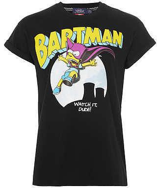 'Bartman'-T-Shirt mit Krempelärmeln, schwarz