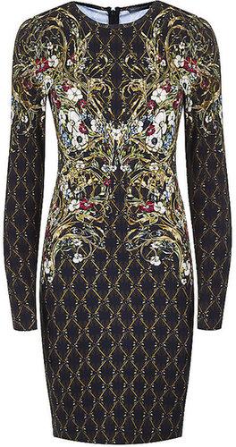 Alexander Mcqueen Rhombic Floral Print Jersey Dress