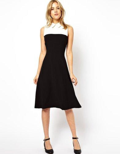 ASOS Midi Dress With Contrast Yoke And Collar