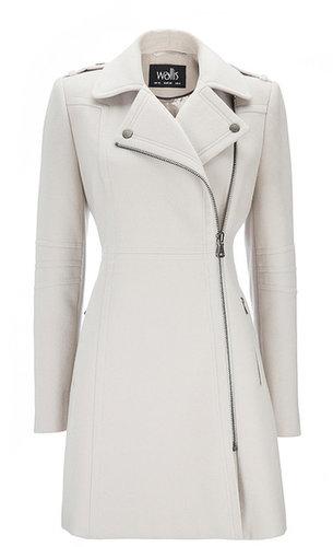 Manteau grès avec fermeture zippée asymétrique