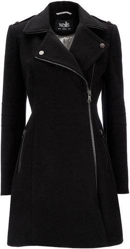 Manteau noir avec fermeture zippée asymétrique