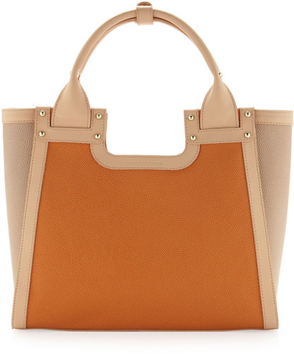 Charles Jourdan Blake Square Colorblock Tote, Orange/Tan