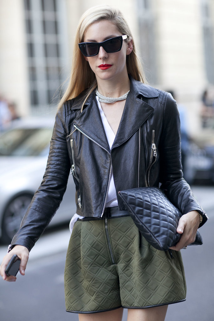 Joanna Hillman worked a little leather on leather in a J Brand jacket.