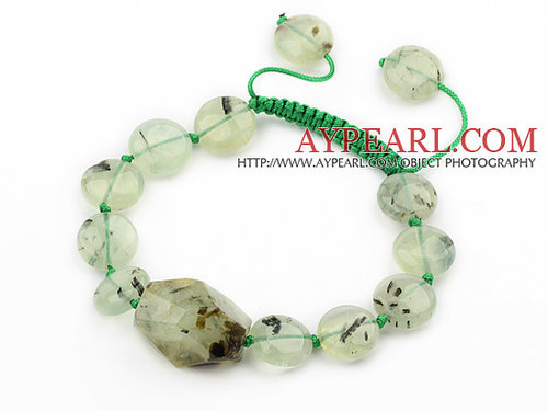 Green Series Flat Round Prehnite Knotted Adjustable Drawstring Bracelet