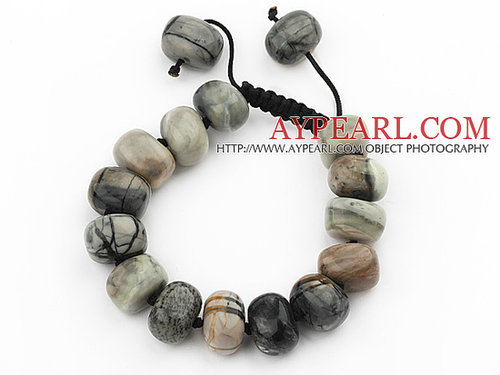 Assorted Fillet Irregular Shape Picasso Stone Knotted Adjustable Drawstring Bracelet