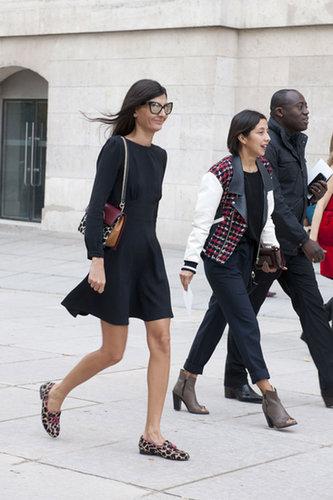 Giovanna Battaglia dressed down an LBD with leopard-print flats.
