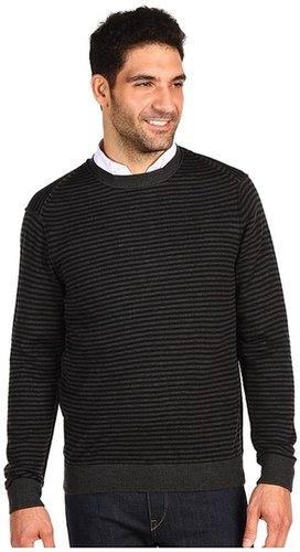 Perry Ellis - L/S Merino Blend Horizon St Sweater (Black) - Apparel
