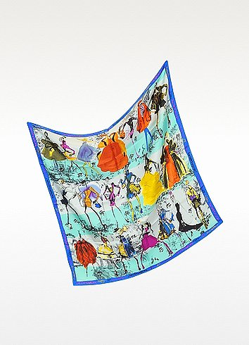 Christian Lacroix 20 Ans Print Silk Square Scarf