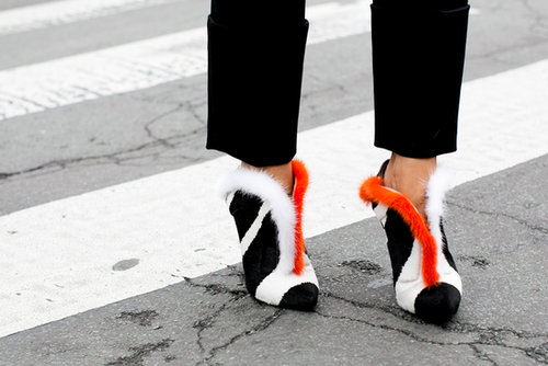 Impossible not to stare at these furry Fendi heels.