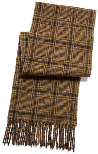 POLO RALPH LAUREN Plaid and Herringbone Fringe Scarf