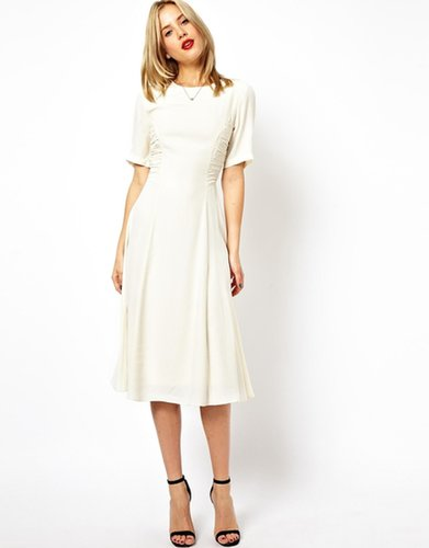 ASOS Midi Dress With Ruched Side Detail