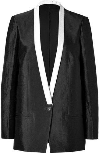 Helmut Lang Cotton Blend Long Panel Blazer in Black