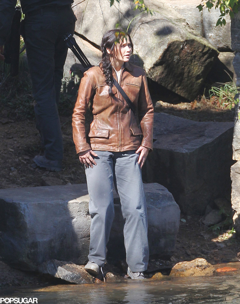 Jennifer Lawrence reprised her role as Katniss on the set of the third installment, Mockingjay.