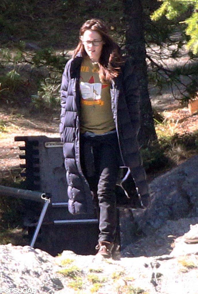 Kristen Stewart got ready to  film a scene by the lake.