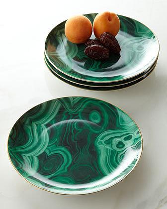 L'Objet Four Malachite Dessert Plates