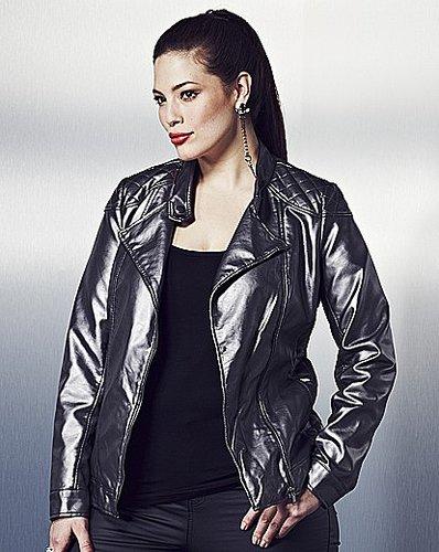 Anna Scholz Leather Look Metallic Biker Jacket