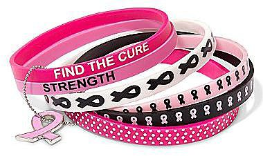 Breast Cancer Awareness Silicone 6-pc. Bracelet Set