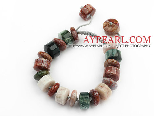 Cylinder Shape Ocean Agate Knotted Adjustable Drawstring Bracelet
