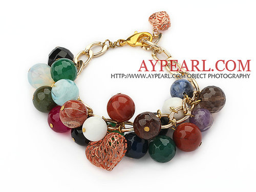 Assorted Multi Color Multi Stone Extendable Bracelet with Yellow Color Metal Chain