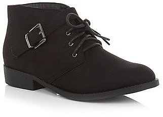 Black Lace Up Buckle Ankle Boots