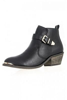 Black PU Gold Plate Ankle Boots